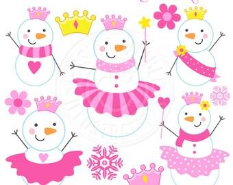 Snowman Princess Cute Christmas Digital Clipart - Commercial Use OK - Girly Snowmen, Christmas Digital Art, Christmas Clipart, Tutu Snowman