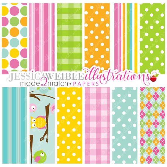 Out on a Limb Cute Digital Papers for Card Design, Scrapbooking, and Web Design - Owl Paper Design