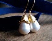 Lilianna Freshwater Pearls Gold Fill Wire Wrap Drop Earrings Perfect Holiday or Bride Bridesmaids Wedding Jewelry
