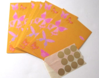 Vintage Stationery Set, Bright Orange, Pink and Purple Fold-a-Note Cards