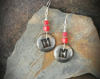 Silver Button Red Sterling Silver Earrings, Red Button Earrings, Antique Button Earrings, Red Button Sterling Silver Earrings