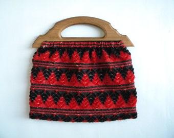 Vintage Bag 70s Red Black Woven Purse Wooden Handle Bag
