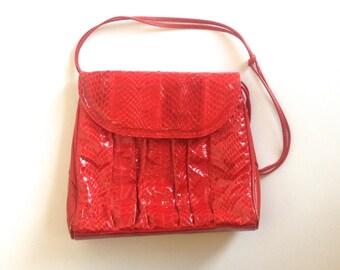 Vintage Purse 80s Bright Red Snakeskin Purse Cross Body Bag