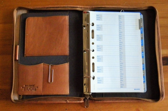 Rolodex Leather Personal Organizer Saddle Brown Leather Zip 3