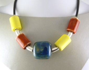 Blue, Red and Yellow Porcelain Statement Necklace