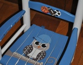 Children's Hand Painted, Sports Owl, Girls Rocking Chair, Baby Shower Gift, Nursery Furniture, Painted Child Chair, Baby Gift