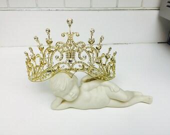 Extraordinary Gold Rhinestone Tiara Crown