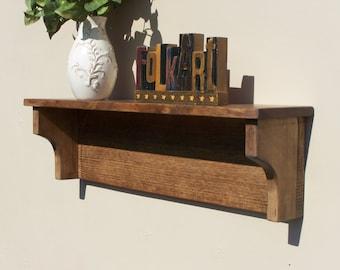 Rustic Wooden Wall Shelf Bathroom Living Room Kitchen Walnut Finish