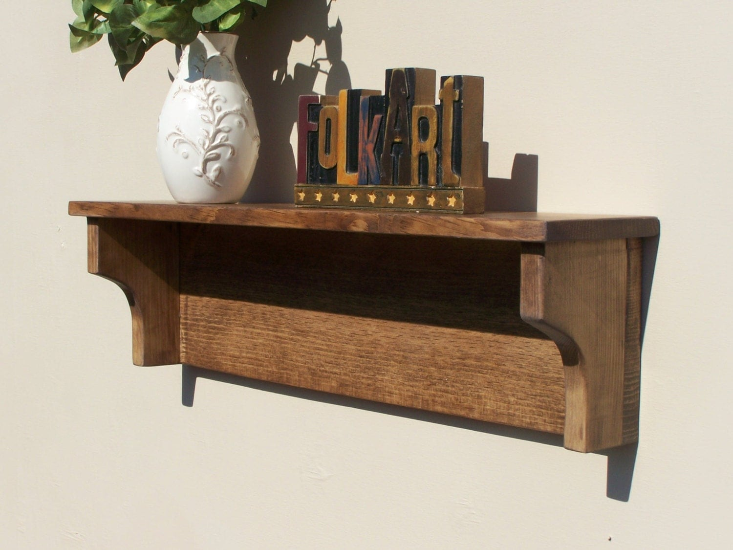 Rustic Wooden Wall Shelf Bathroom Living Room Kitchen Walnut