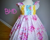 RESERVED LISTING - Ready to Ship - 3/4/ Girl Spring Dress - Easter Dress - Photography - Birthday Dress - Pink - Yellow - Flutter Sleeves -