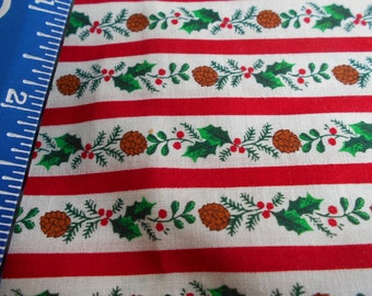 Vintage Cranston V.I.P. print -christmas fabric yardage. Red stripe with ivy and pinecones. 2 1/2 yards