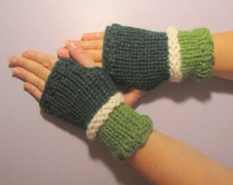 Fingerless Gloves - Green and Off White Hand Knit Fingerless Gloves