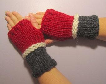 Fingerless Gloves - Red and Grey Hand Knit Fingerless Gloves