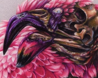 "Zombie Flamingo Illustration  Giclee Mini Print - ""Zombie Kitsch"""