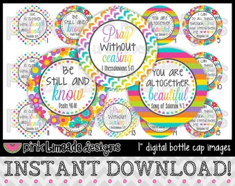 "Be Still and Know 1 - INSTANT DOWNLOAD 1"" Bottle Cap Images 4x6 - 710"