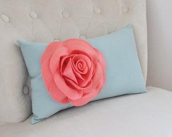 Light Coral Rose on Dusty Blue Lumbar Pillow -Decorative Pillow-