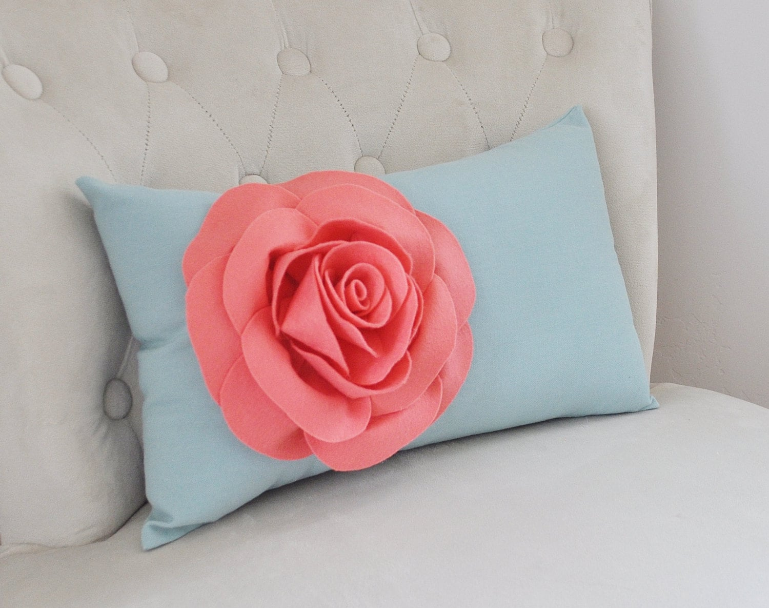 Dusty Blue Decorative Pillows : Light Coral Rose on Dusty Blue Lumbar Pillow Decorative