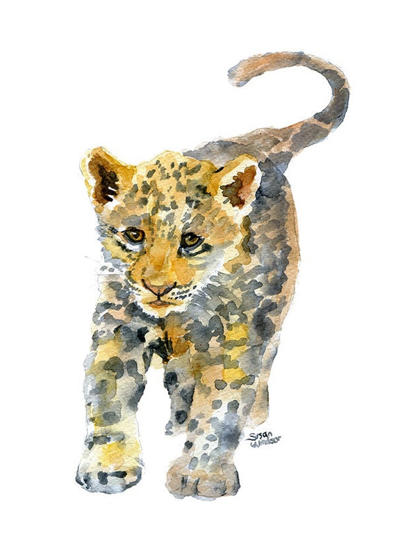 B b jaguar aquarelle peinture 5 x 7 giclee print - Bebe du jaguar ...