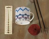READY TO SHIP Knit Print Mug Knitter's Mug Knitting Gift Mug Ceramic Mug