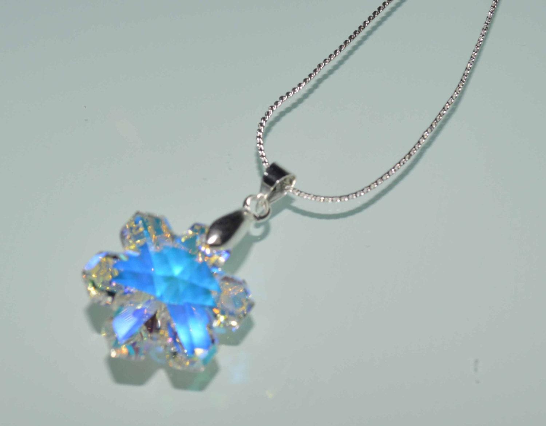 swarovski snowflake pendant necklace clear ab