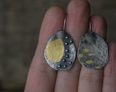 Patches of light - oxidized sterling silver and 24kt gold earrings