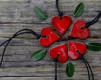Red heart - ceramic adjustable necklace