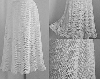 Vintage Crochet Skirt, Vintage Skirt, Skirt, Cream Hand Crochet Skirt, Cream Skirt, Summer Skirt, Crochet Skirt, Vintage