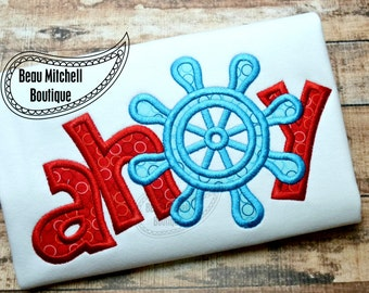 AHOY applique with ships wheel