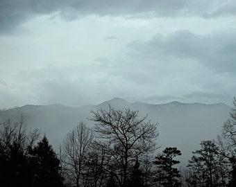 mountain photography, Smoky Mountain photo, fine art photography, blue bedroom art, landscape mountain art, mountain fog photography
