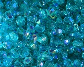 50 pieces of Dark Teal AB 3 mm fire polished czech crystal beads (CZ03-123)