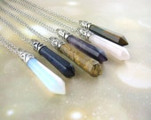 Long Bullet Crystal Necklace - Quartz Crystal Point Necklace - Sterling Silver Boho Jewelry Tribal Pendant - Semi Precious Gemstone Pendant