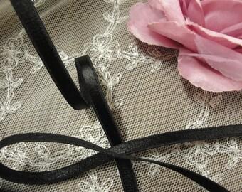 "Black lingerie elastic 5 yards 1/4"" width ( 6mm )  satin elastic / black lingerie elastic trim"