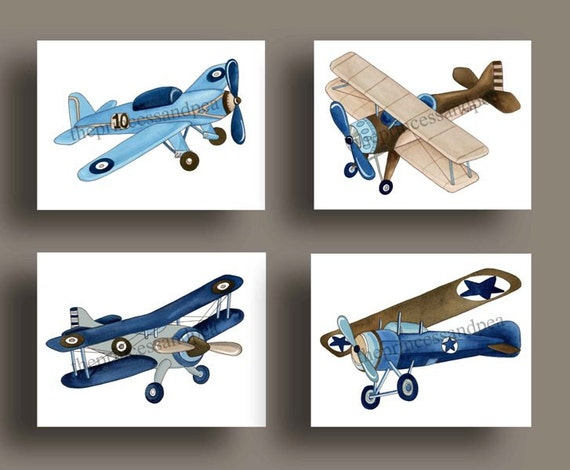 boys airplane art, vintage airplanes childrens art, airplanes artwork, airplane bedding art, baby boy nursery wall art, kids airplane prints