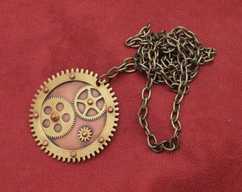 Steampunk brass cogs and gears necklace