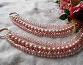 SET OF 2 Pink crystals, glass pearls decorative curtain tiebacks, glass crystals flowers - drapery holders - tie backs curtain, shabby chic