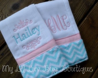 Personalized Burp cloth set prefold diaper-baby pink with topaz and white mini chevron print- set of two