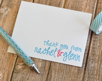 Wedding Thank You Cards - Wedding Thank You Notes - Personalized Wedding Thank You Note Cards Whimsical Couples Stationery