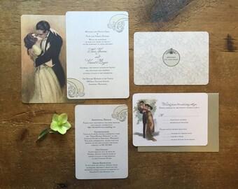 Wedding Invitation Set, Vintage Style Wedding, 1920s Wedding, Romantic Wedding Invitation - Intermezzo Theme