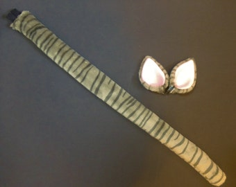 Gray Tabby Striped Faux Fur Cat Costume Ears And Tail Set Halloween Cosplay