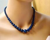 Royal Blue Lapis Lazuli Necklace - Descending Necklace - Gemstone Jewelry