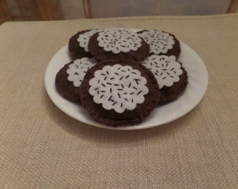 Felt Food, Chocolate Cookie with Vanilla Frosting and Chocolate Sprinkles