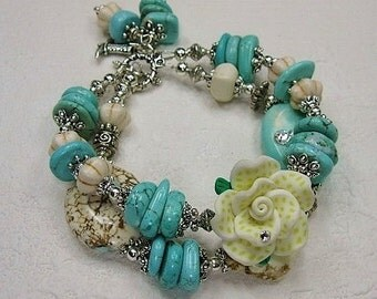CHUNKY STATEMENT BRACELET / Howlite Turquoise Bracelet / Two strand Bracelet / Cowgirl Western Bracelet - SaLLy