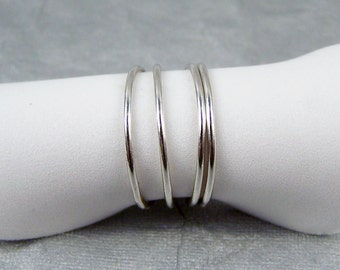 One Very Thin Smooth Sterling Silver band