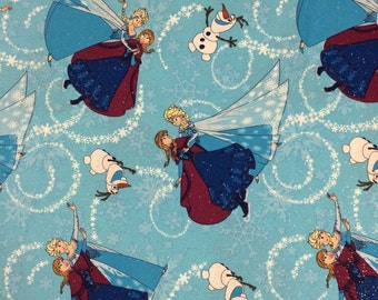 Sale - Frozen Sisters Dancing and Olaf on Blue from Springs Creative - Full or Half Yard Anna, Elsa, Olaf Blue Glittery