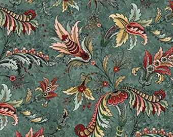 French Quarter From Benartex - Full or Half Yard Jacobean Teal and Coral Botanical Floral - Decatur Teal