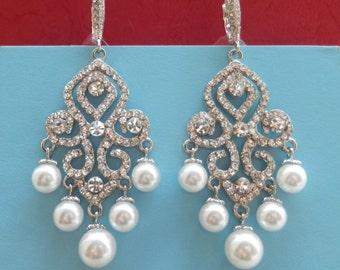 Bridal Earrings, Bridesmaids Chandelier Earrings, Rhinestones Pearls Earrings (E3077B)