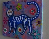 Mexican Folk Art El Gato Cat Blue Azul  Meow Kitty Day of the Dead Original Painting