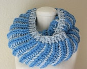 Blue on Blue Multicolor Chunky Infinity Scarf - Handknit, Ready to Ship