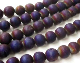 """Druzy Round Beads - Purple Druzy Agate Beads - Crystal Matte Coating - Open Mouth Druzy - Semiprecious - 8mm - 16"""" Strand - Jewelry Making"""