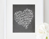 Chalkboard Style - Modern Calligraphy Art Print - 'Jesus Said Love Everyone' 5x7